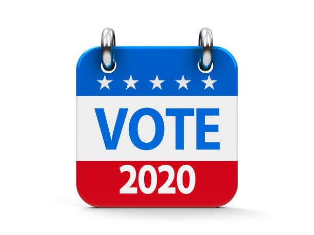 calendrier des icônes de l'élection 2020 - calendrier digital journée photos et images de collection