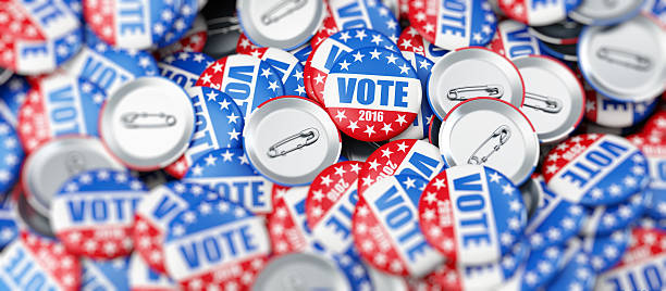 vote election badge button for 2016 - vote sign stock photos and pictures