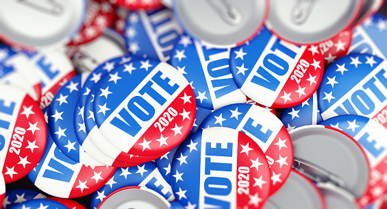 istock vote election badge button for 2020 background, vote USA 2020, 3D illustration, 3D rendering 1141007192