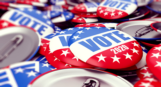 istock vote election badge button for 2020 background, vote USA 2020, 3D illustration, 3D rendering 1141007609