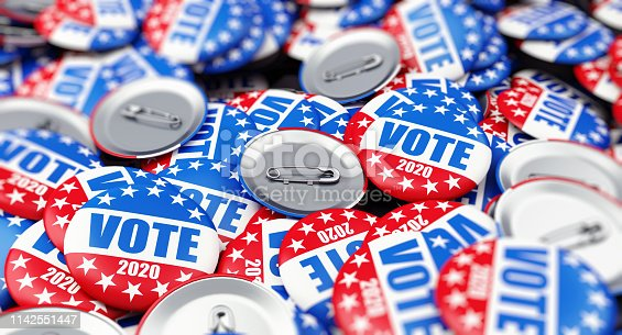 istock vote election badge button for 2020 background, vote USA 2020, 3D illustration, 3D rendering 1142551447
