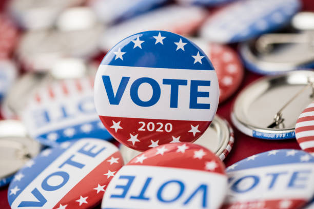 Vote election badge button for 2020 background, vote USA 2020 USA,  Voting, Election, 2020 election stock pictures, royalty-free photos & images