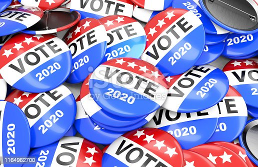 Vote election badge button for 2020, vote USA 2020, 3D rendering