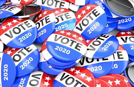 istock Vote election badge button for 2020, vote USA 2020, 3D rendering 1164962700