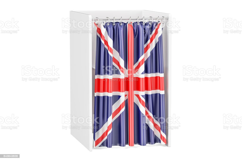 Vote in United Kingdom concept, voting booth with British flag, 3D rendering stock photo
