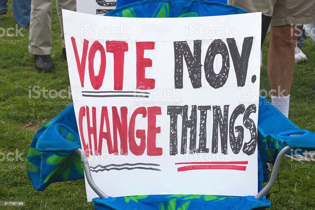 Vote November, Change Things Sign stock photo
