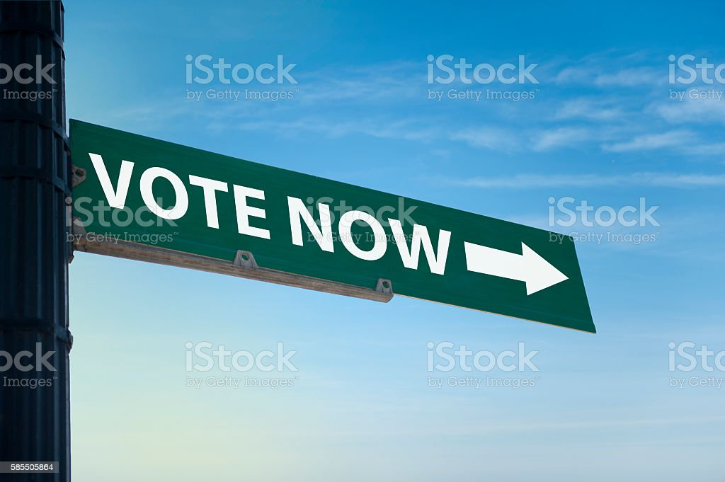 Vote now / Road sign (Click for more) stock photo