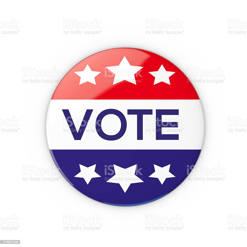 USA Vote pin badge stock photo