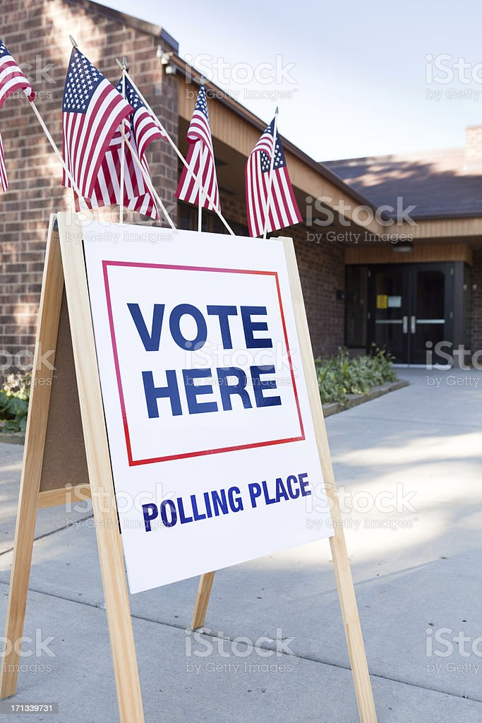 Vote Polling Place Sign in United States of America Election stock photo