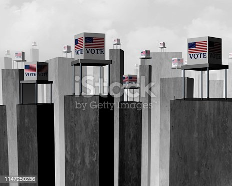 Vote suppression and suppressed voter election concept as a difficult access to the ballot box representing disenfranchised electorat as a 3D illustration.