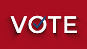vote text with checkbox, US election concept, red, white, blue colors