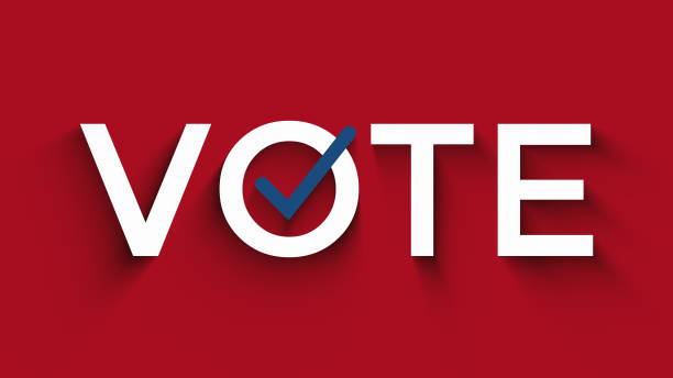 vote text with checkbox, us election concept, red, white, blue colors - ballot stock pictures, royalty-free photos & images