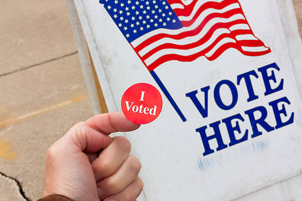 i voted! - vote sign stock photos and pictures