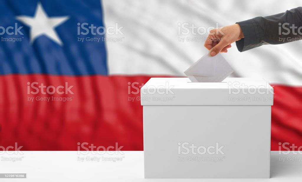 Eleitor em um fundo de bandeira do Chile. ilustração 3D - foto de acervo