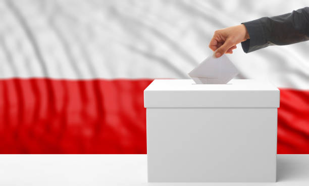 voter on a poland flag background. 3d illustration - grecia stato foto e immagini stock