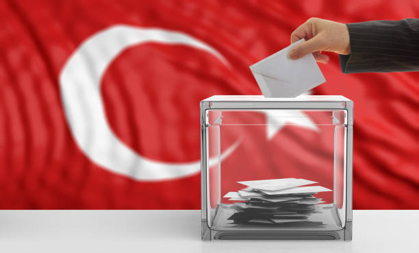 voter on a turkey flag background. 3d illustration - grecia stato foto e immagini stock