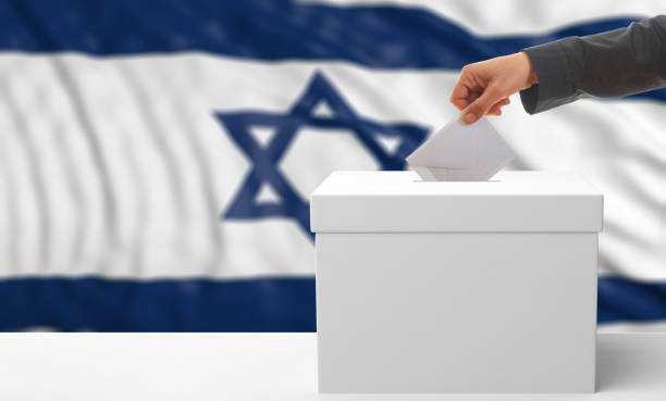 voter on an israel flag background. 3d illustration - grecia stato foto e immagini stock