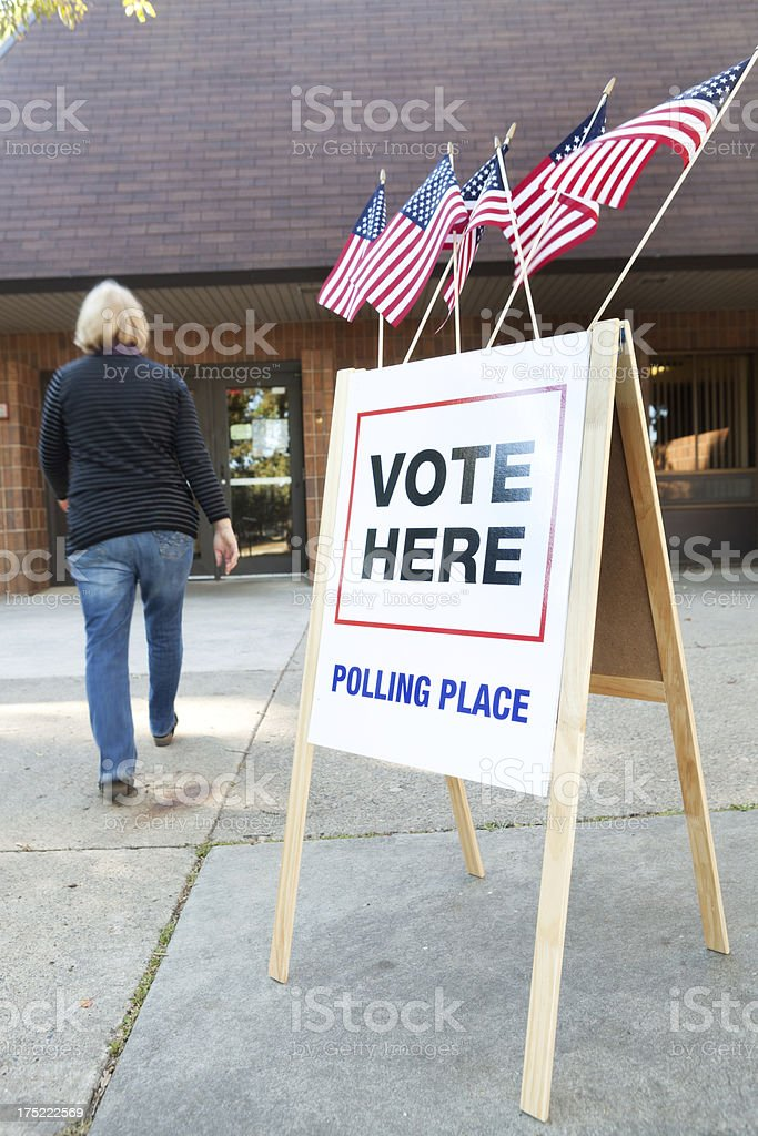 USA Voter Voting in Election Polling Place Station Vt royalty-free stock photo