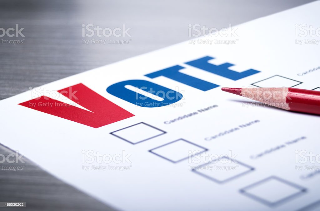 Voters ballot close-up stock photo