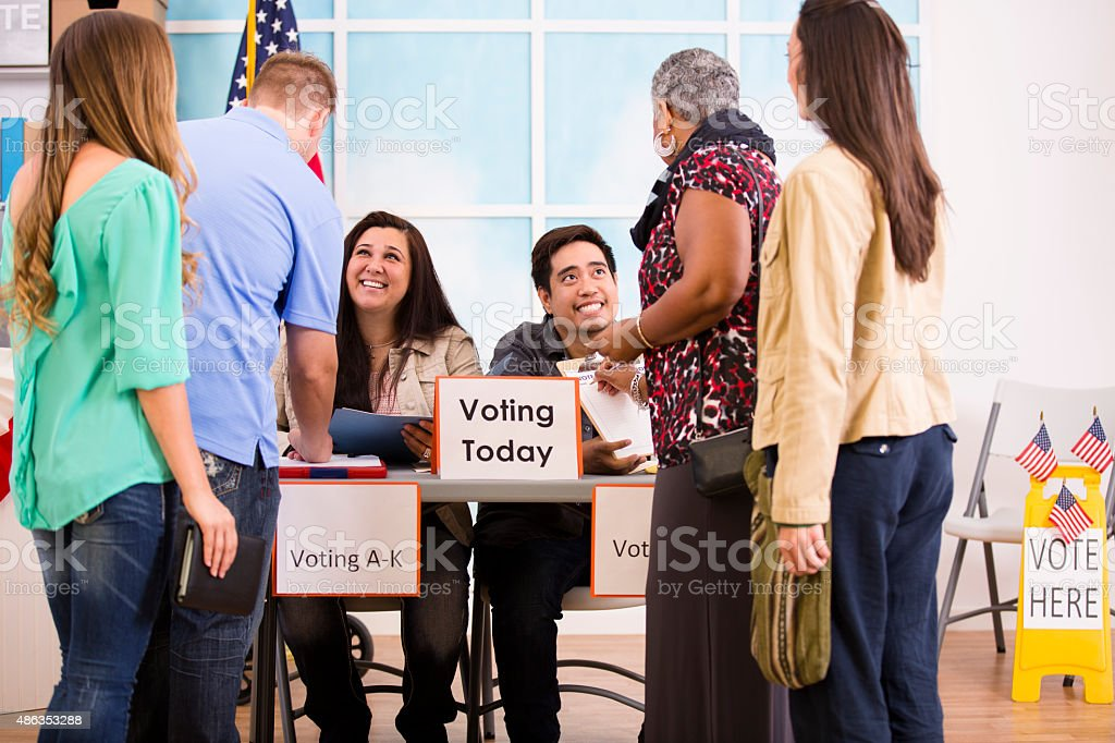 Voters registering and voting in the November United States elections. stock photo