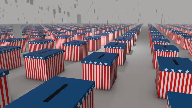 голоса падают в урны для голосования на президентских выборах - biden стоковые фото и изображения