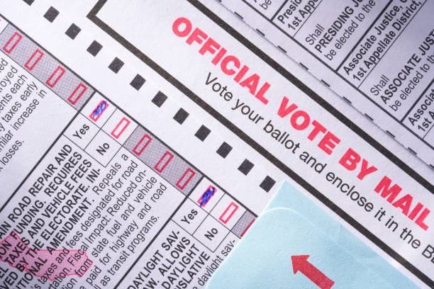 voting ballot: absentee voting by mail with candidates and measures - ballot stock pictures, royalty-free photos & images