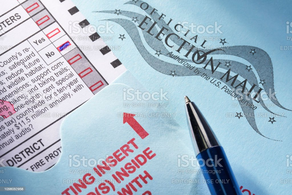 Voting ballot: Absentee voting by mail with candidates and measures stock photo