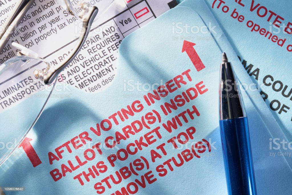 Voting ballot by mail: Absentee voting by mail with candidates and measures stock photo