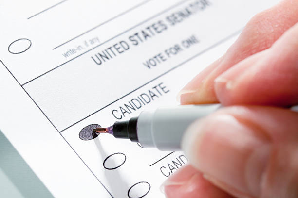 voting ballot for united states senators election, hand writing choice - ballot stock pictures, royalty-free photos & images