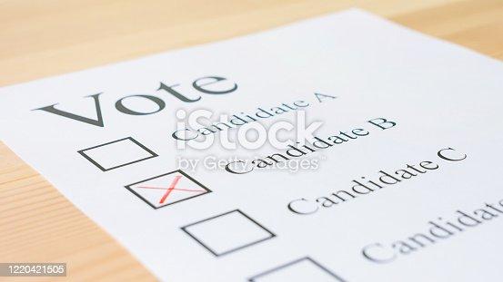 1001757106 istock photo Voting ballot paper 1220421505
