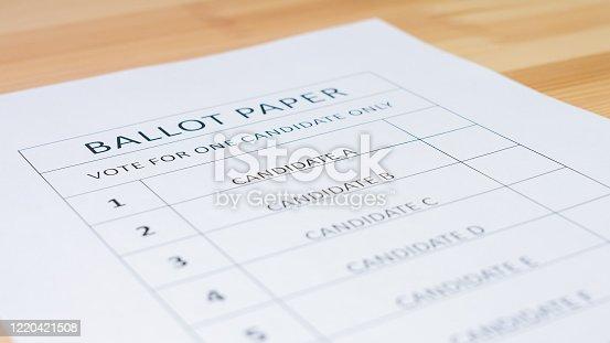 1001757106 istock photo Voting ballot paper 1220421508