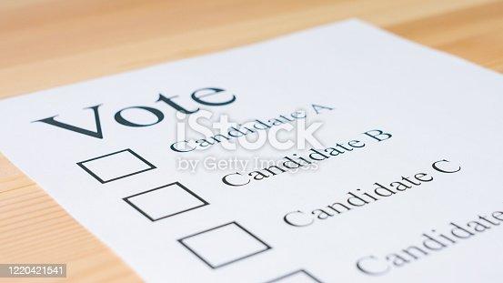 1001757106 istock photo Voting ballot paper 1220421541