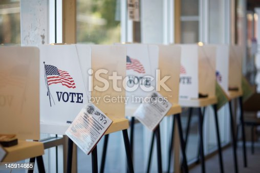 Voting booths at Hermosa Beach City Hall during California Primary