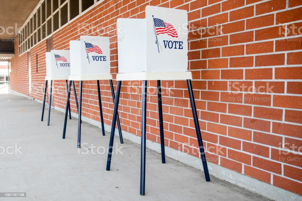Voting Booths with no people stock photo
