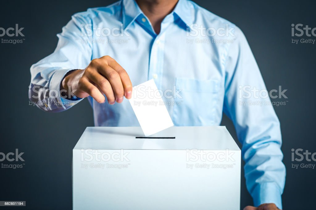 Voting box and election image stock photo