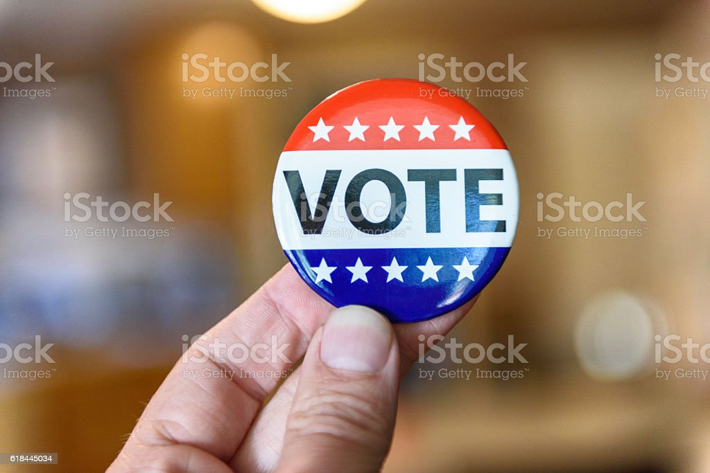 Voting Button stock photo