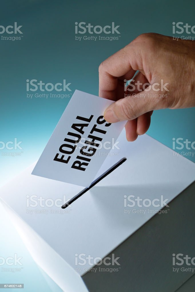 Voting Equal Rights Vote in Ballot Box stock photo