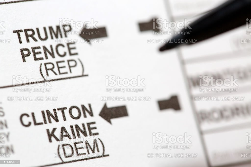 Voting For Leading USA Presidential Candidates on Ballot stock photo