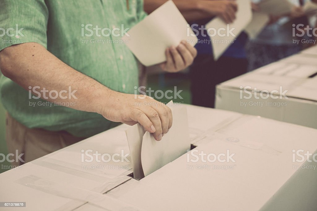 Voting hand detail stock photo