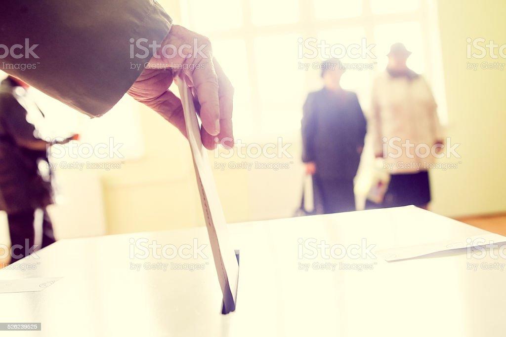 Voting hand stock photo