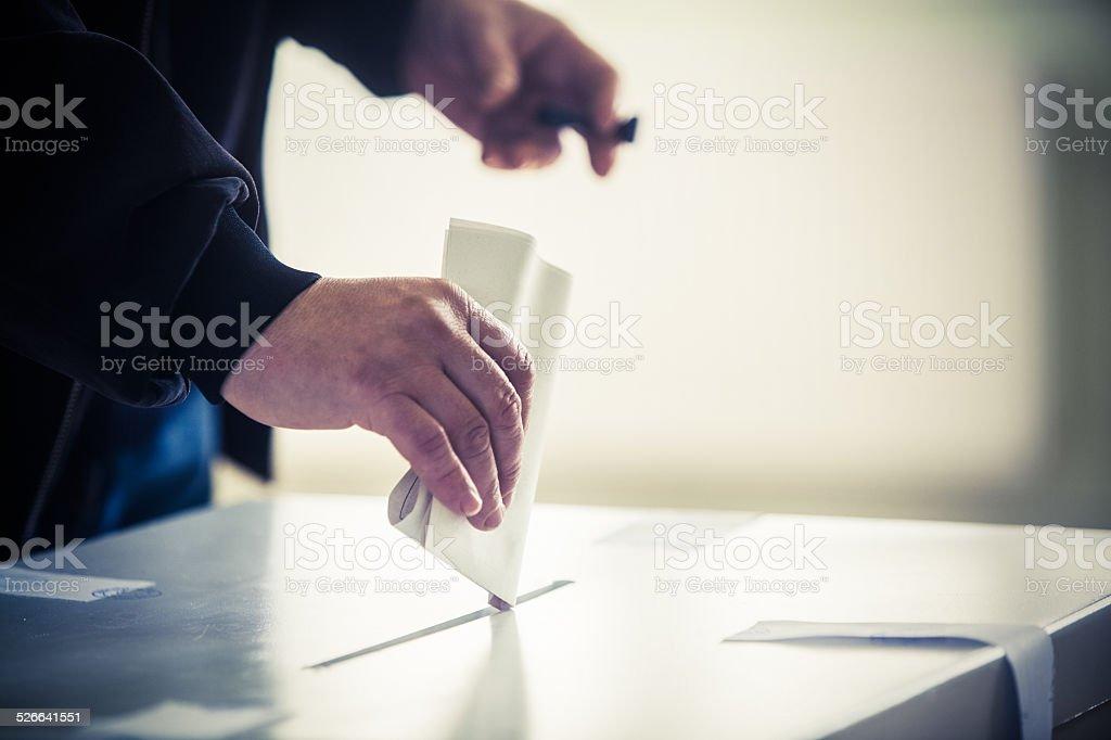 Abstimmung hand - Lizenzfrei Briefumschlag Stock-Foto