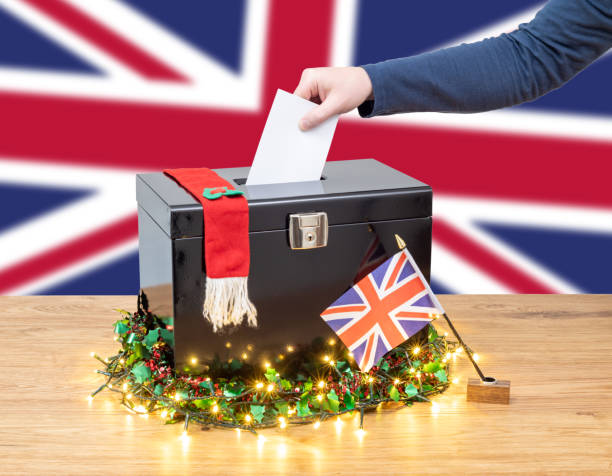 Voting in a Christmas General Election in the UK stock photo