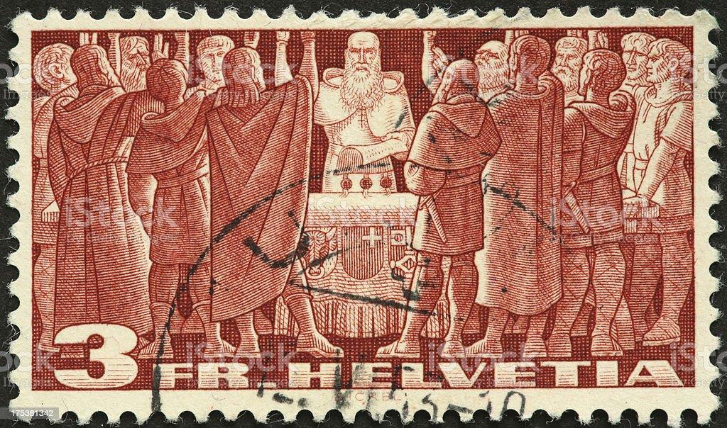 Stimmabgabe Männer auf einem alten Schweizer stamp – Foto