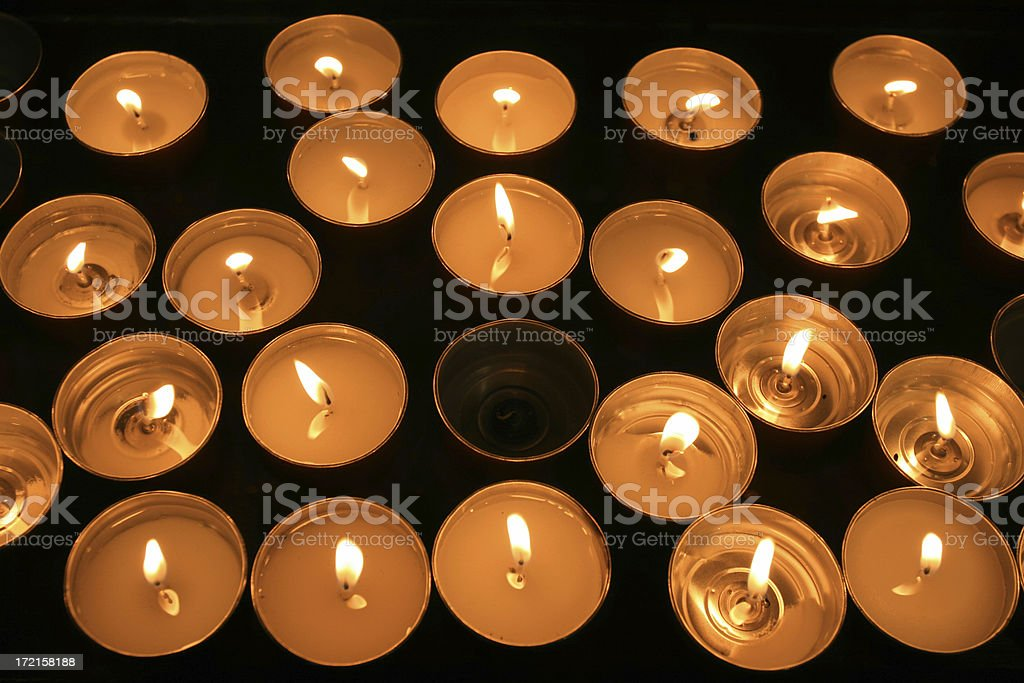 Votive Candle from above in a Catholic Church, Rome Italy royalty-free stock photo