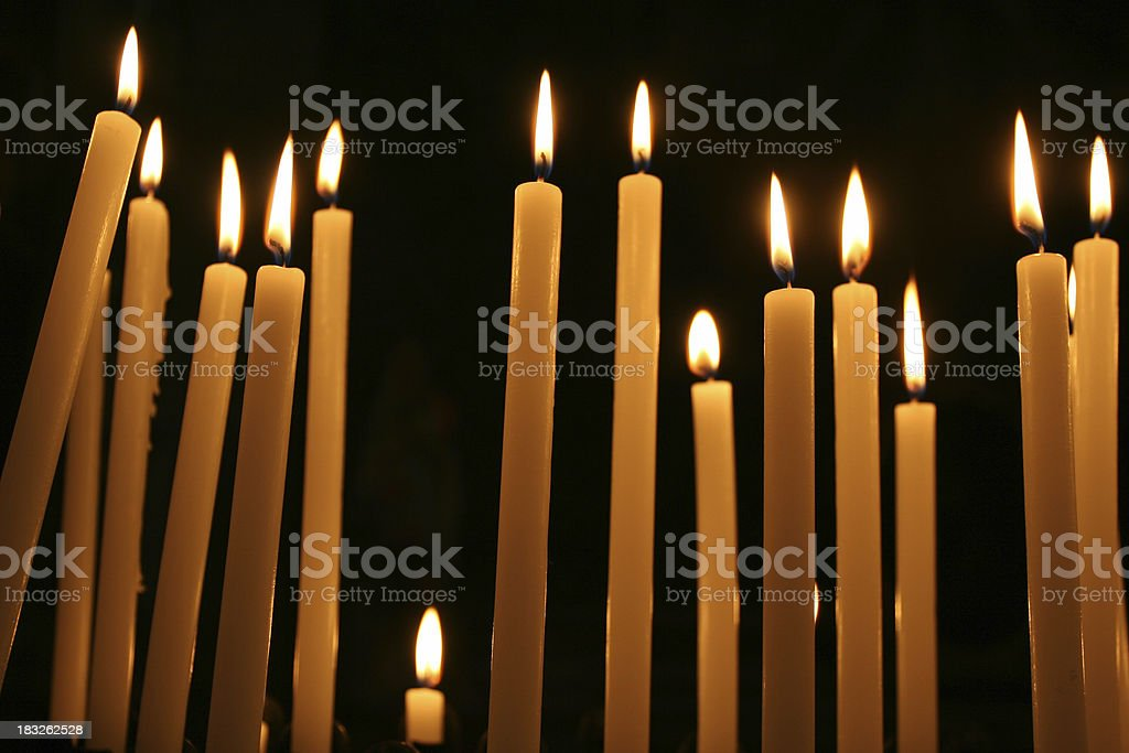 Votive Candle in a Catholic Church, Rome Italy royalty-free stock photo