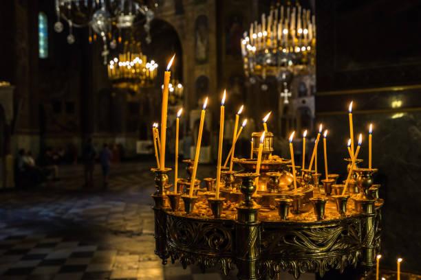 Votive candle inside Alexander Nevski cathedral, Sofia, Bulgaria stock photo