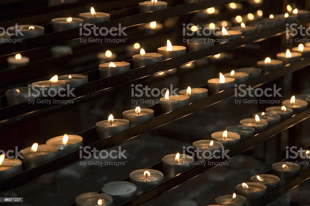 Votive Candles in Rows royalty-free stock photo