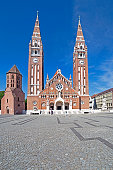 Szeged, Hungary - May 22, 2016: Votive Church of Our Lady of Hungary in Szeged. Construction began in 1913 and it was completed at 1930.