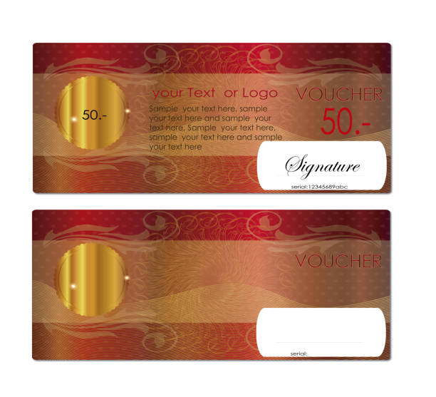 voucher / coupon , gift certificate - guilloche stock photos and pictures