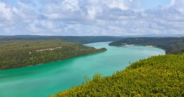 Vouglans Lake in Jura, France stock photo